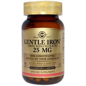 Железо, (Gentle Iron), Solgar, 25 мг, 90 капсул