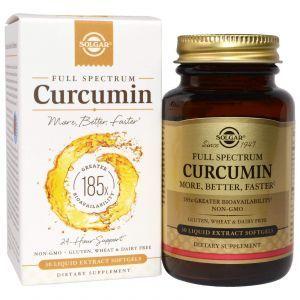 Куркумин, ( Curcumin), Solgar, 30 мягких гелей