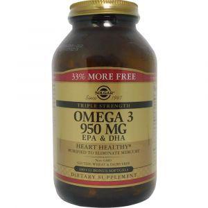 Рыбий жир, Омега 3, Omega-3 EPA, DHA, Solgar, акционный, 950 мг, 100+33 гелевых капсул