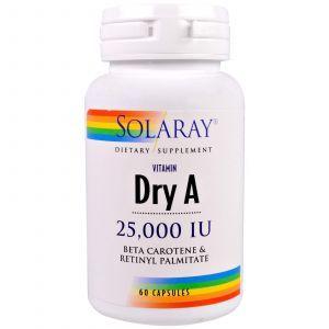 Витамин А, Dry Vitamin A, Solaray, 25,000 IU, 60 капсул