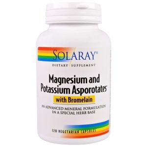 Магний и калий, Magnesium and Potassium, Solaray, 120 капс.