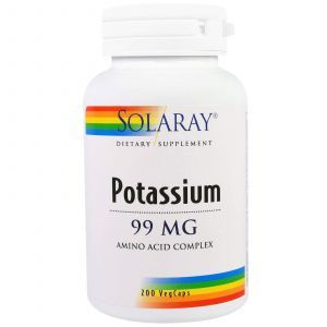 Калий, Potassium, Solaray, 99 мг, 200 капсул
