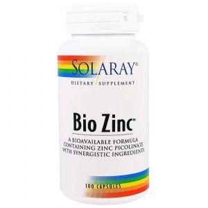 Био цинк, Bio Zinc, Solaray, 100 капсул