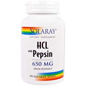 Бетаин HCl + пепсин, HCL with Pepsin, Solaray, 650 мг, 100 кап.