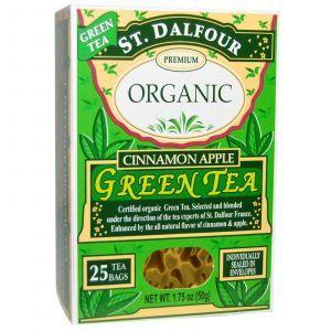 Органический зеленый чай  с корицей и яблоком, Green Tea, St. Dalfour, 50 г