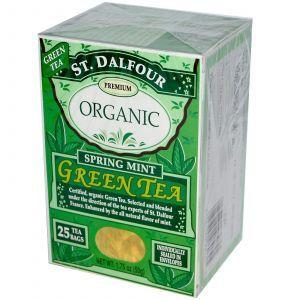 Органический зеленый чай с ароматом весенней мяты, Green Tea, St. Dalfour, 50 г