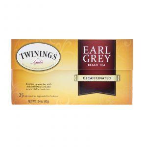 Черный чай Эрл грей, без кофеина, Earl Grey, Black Tea, Twinings, 25 чайных пакетиков, 43 г