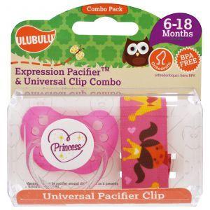 Соска -пустышка с принцессой, Expression Pacifiers & Universal Clip Combo, 6-18 мес., Ulubulu