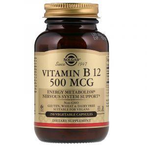 Витамин В12, Solgar, 500 мкг, 250 капсул
