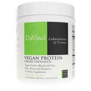 Растительный протеин, Vegan Protein, DaVinci Laboratories of  Vermont, для веганов, вкус сливочного шоколада, порошок, 447 г