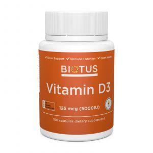 Витамин Д3, Vitamin D3, Biotus, 5000 МЕ, 100 капсул