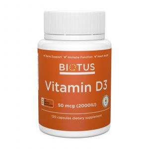 Витамин Д3, Vitamin D3, Biotus, 2000 МЕ, 120 капсул