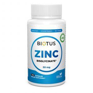 Цинк бисглицинат, Zinc Bisglycinate, Biotus, 30 мг, 100 капсул