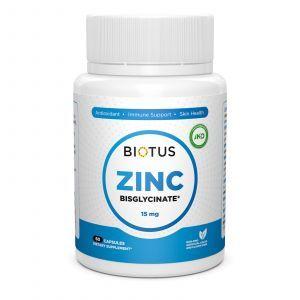 Цинк бісгліцінат, Zinc Bisglycinate, Biotus, 15 мг, 60 капсул
