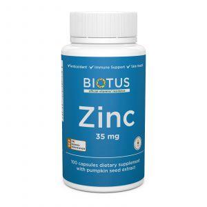 Цинк с экстрактом тыквенных семечек, Biotus, 35 мг, 100 капсул